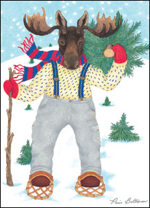 Moose in Snow Shoes Greeting Card