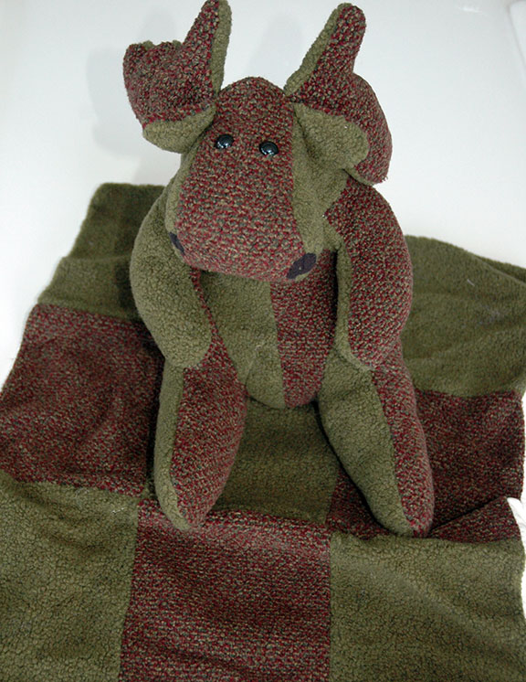 Adopt a Moose - Green & Maroon with Matching Blanket