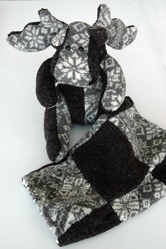 Adopt a Moose - Grey and Snowflakes with Matching Blanket