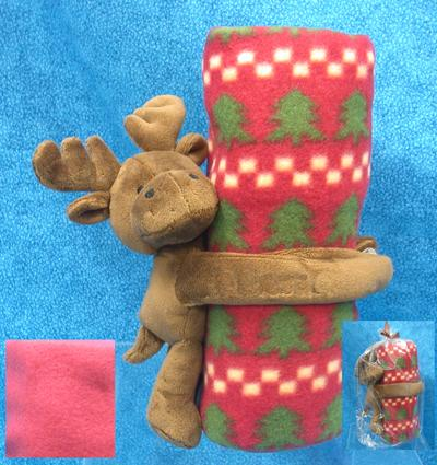 Red Baby Blanket with Wrap Around Moose