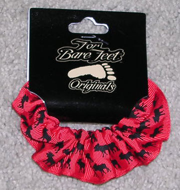 Red Scrunchie with Black Moose Print